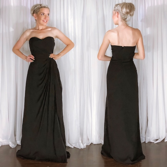Bill Levkoff Dresses Levkoff Black Chiffon Strapless Bridesmaid
